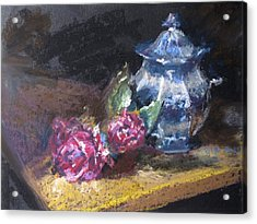Blue Jug With Roses Acrylic Print