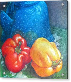 Blue Kettle With Peppers Acrylic Print by Susan Herbst