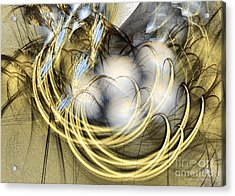 Blue Lullaby - Fractal Art Acrylic Print by Sipo Liimatainen