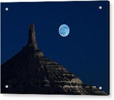 Blue Moon Over Chimney Rock Acrylic Print