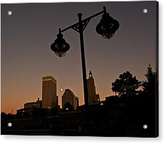 Acrylic Print featuring the photograph Blue Moon Over Downtown Providence 1 by Nancy De Flon