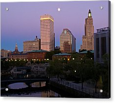 Acrylic Print featuring the photograph Blue Moon Over Downtown Providence 2 by Nancy De Flon