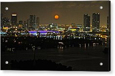 Blue Moon Over Miami Acrylic Print by Ronald  Bell
