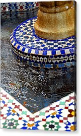 Blue Mosaic Fountain II Acrylic Print