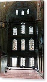 Blue Mosque Prayers Acrylic Print by Leslie Leda