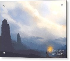 Blue Mountains  Acrylic Print by Pixel  Chimp