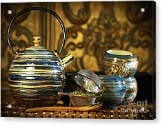 Blue Oriental Teapot With Cups  Acrylic Print by Sandra Cunningham
