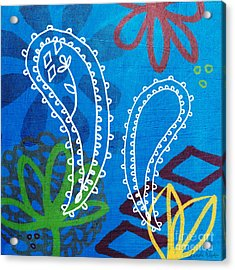 Blue Paisley Garden Acrylic Print by Linda Woods