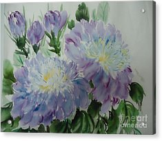 Acrylic Print featuring the painting Blue Purple Flower by Dongling Sun