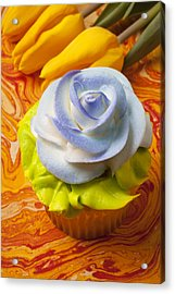 Blue Rose Cup Cake Acrylic Print by Garry Gay