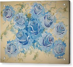 Blue Roses Abstract Acrylic Print