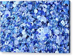 Blue Sequins Of Various Shapes And Sizes Acrylic Print by Andrew Paterson