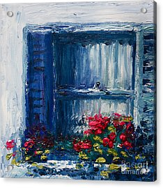 Blue Shutters Acrylic Print by Yvonne Ayoub