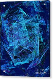 Blue Space Debris Acrylic Print by Andee Design