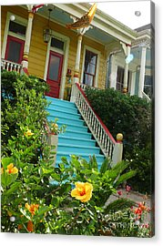 Blue Stairs Yellow House Acrylic Print