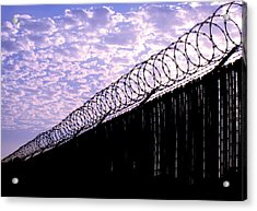 Blue Sunset And Barbed Wire Acrylic Print