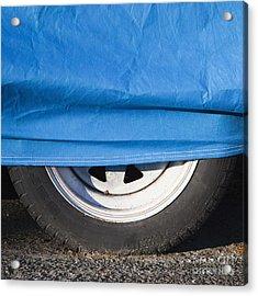 Blue Tarp And Car Wheel Acrylic Print by Paul Edmondson