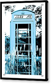 Blue Telephone Booth In A Field In Maine Acrylic Print by Kara Ray