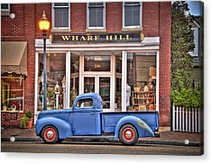 Blue Truck On Main Street Acrylic Print