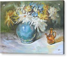 Blue Vase Acrylic Print by Patricia Seitz