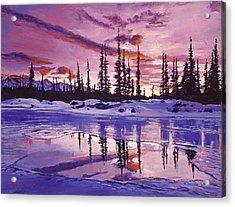 Blue Winter Sunrise Acrylic Print by David Lloyd Glover