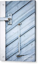 Acrylic Print featuring the photograph Blue Wooden Wall With Metal Hook by Agnieszka Kubica