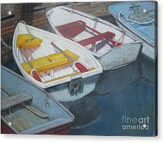 Blue Yellow And Red Boats Tremont Maine Acrylic Print by Susan Herbst