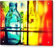 Blue Yellow And Red Acrylic Print by Olivier Calas