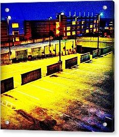 #blue #yellow#parkingdeck #night Acrylic Print