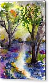 Bluebell Forest Watercolor Painting Acrylic Print by Ginette Callaway
