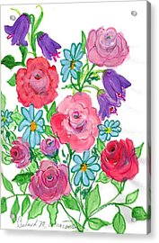 Bluebells And Roses Acrylic Print by Debbie Wassmann