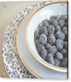 Blueberries In Blue And White China Bowl Acrylic Print by Lyn Randle
