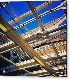 #bluesky #railway #station #trains Acrylic Print by Samuel Gunnell