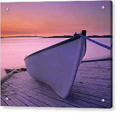 Boat At Dawn, Harrington Harbour, Lower Acrylic Print by Yves Marcoux