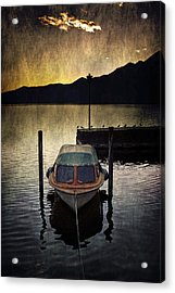 Boat During Sunset Acrylic Print by Joana Kruse