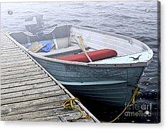 Boat In Fog Acrylic Print by Elena Elisseeva