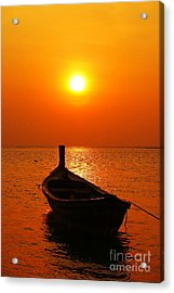 Boat In Sunset  Acrylic Print by Anusorn Phuengprasert nachol