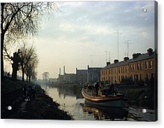 Boat On Grand Canal, Dublin City Acrylic Print by The Irish Image Collection