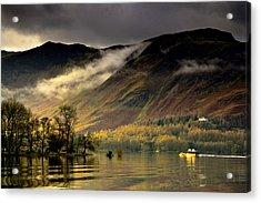 Boat On Lake Derwent, Cumbria, England Acrylic Print by John Short