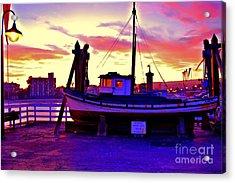 Boat On Santa Cruz Wharf Acrylic Print by Garnett  Jaeger