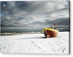 Boat On Snowy Beach Acrylic Print