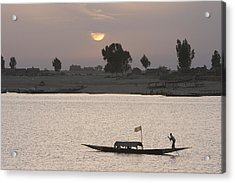 Boat On The Niger River In Mopti, Mali Acrylic Print by Peter Langer