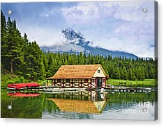 Boathouse On Mountain Lake Acrylic Print by Elena Elisseeva