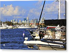 Boats And Miami Acrylic Print by Dieter  Lesche