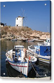 Boats And Windmill Acrylic Print by Jane Rix