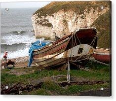 Boats At Thornwick Bay Acrylic Print