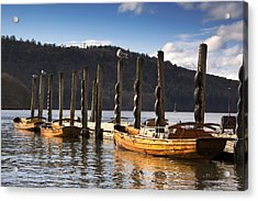 Boats Docked On A Pier, Keswick Acrylic Print by John Short