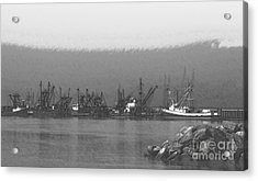 Boats In Harbor Charcoal Acrylic Print by Chalet Roome-Rigdon