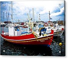 Boats Off Naxos Acrylic Print