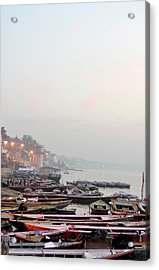 Boats On Ganges River In Morning Acrylic Print